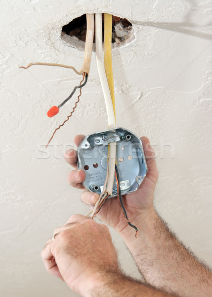 Electrician Wiring Ceiling Box Stock photo © lisafx