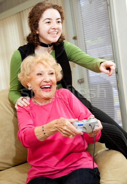 Grandma Loves Video Games Stock photo © lisafx