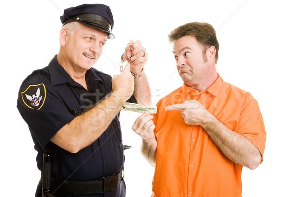 Policier prisonnier policier fonctionnaire menottes isolé Photo stock © lisafx
