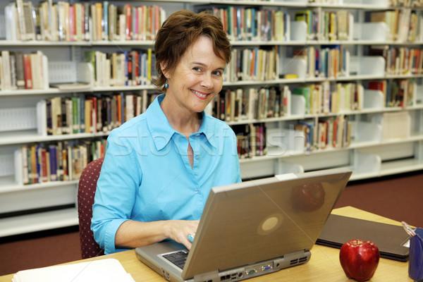 Okul kütüphane öğretmen güzel kütüphaneci çalışma Stok fotoğraf © lisafx