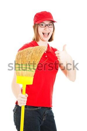 Hevesli işçi genç kız süpürge Stok fotoğraf © lisafx