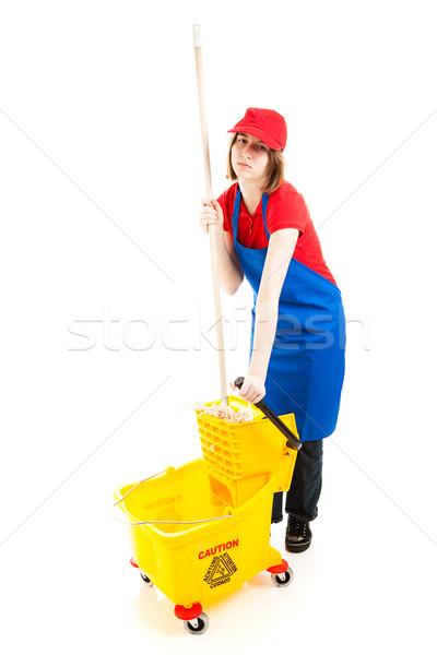 Vervelend baan tienermeisje vervelen vloeren Stockfoto © lisafx
