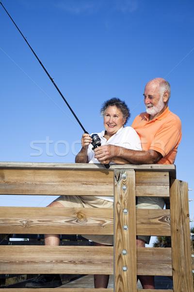 Balık tutma eğlence birlikte ahşap Stok fotoğraf © lisafx