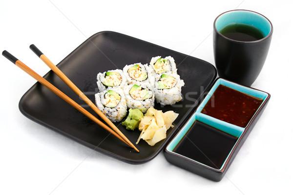 Zdjęcia stock: Sushi · posiłek · odizolowany · biały · herbaty · California