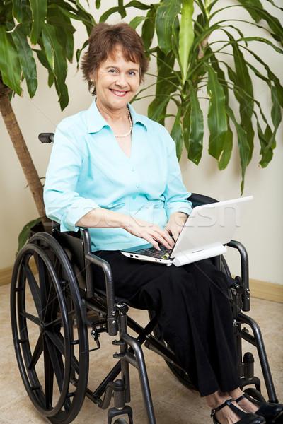 Tekerlekli sandalye güzel işkadını netbook'lar sörf Stok fotoğraf © lisafx
