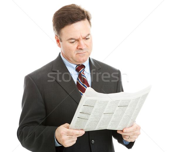 Empresario lectura malas noticias periódico financieros político Foto stock © lisafx