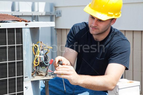 Légkondicionálás javítás fiatal szerelő megjavít ipari Stock fotó © lisafx