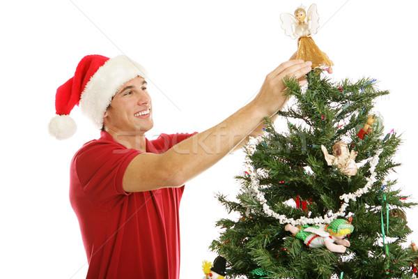 Decorating Christmas Tree - Treetop Angel Stock photo © lisafx