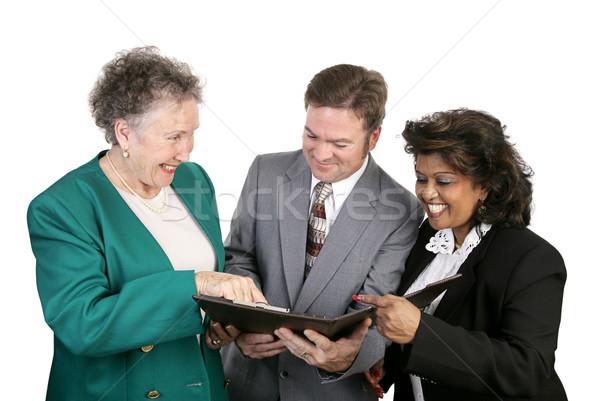 Sokoldalú üzleti csoport jó hírek olvas pozitív hírek Stock fotó © lisafx