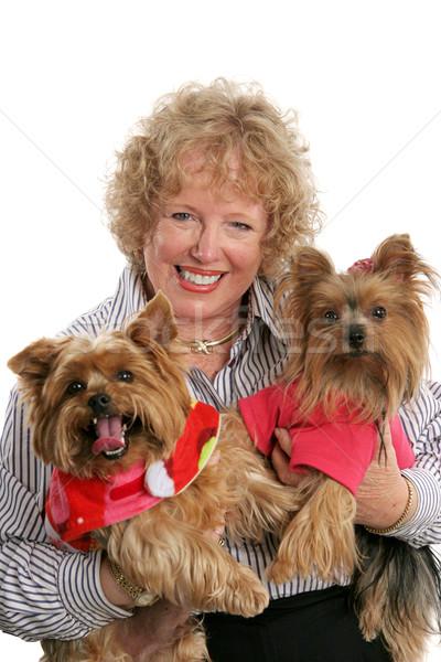 Szczęśliwy trójka domowych właściciel dwa Zdjęcia stock © lisafx