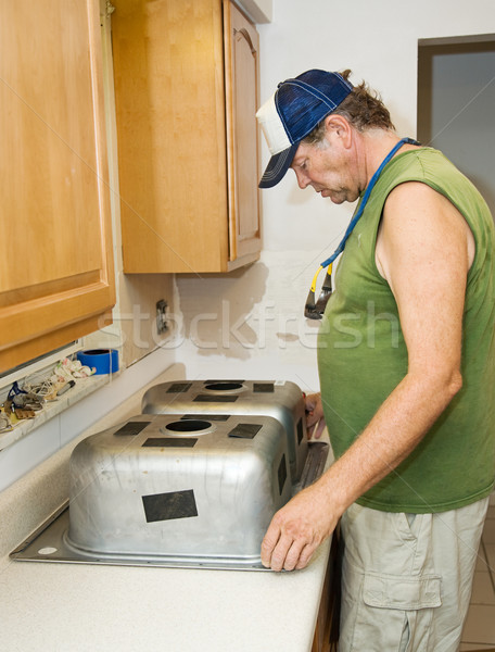 Installing Kitchen Sink Stock photo © lisafx