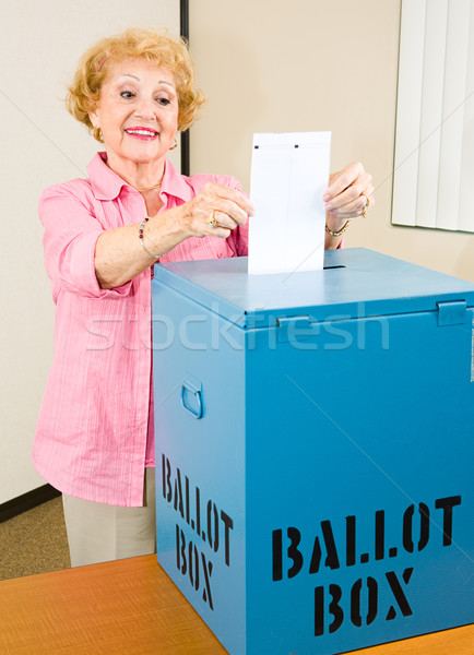Election - Senior Woman Casts Ballot Stock photo © lisafx