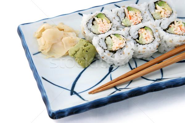 Sushi Roll Angled On White Stock photo © lisafx