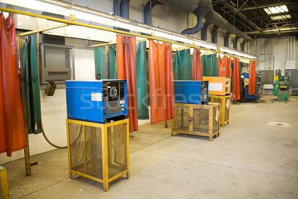 Hegesztés ipari széles látószögű kilátás fém műhely Stock fotó © lisafx