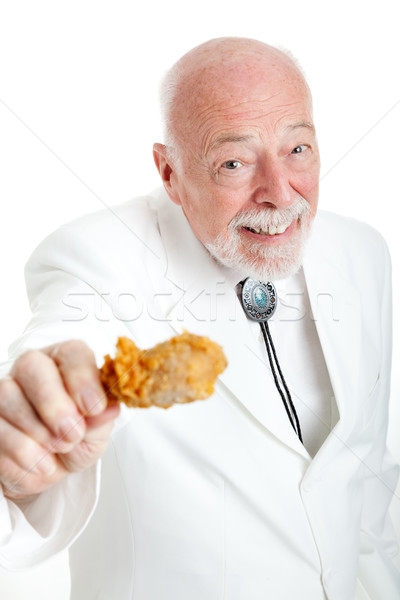 Southern Gentleman With Fried Chicken Drumstick Stock photo © lisafx