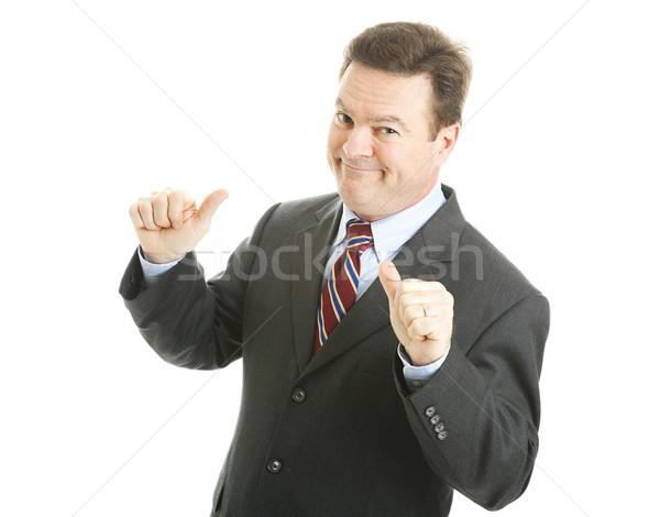 商人 兩 拇指 孤立 白 商業照片 © lisafx