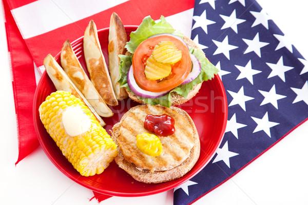 Sağlıklı dördüncü piknik Türkiye Burger bütün Stok fotoğraf © lisafx