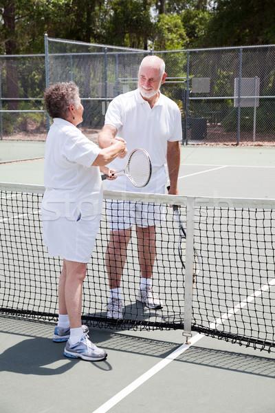 Aktywny starszy para sprawność sportowa ręce tenis netto Zdjęcia stock © lisafx
