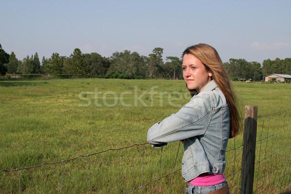 Beautiful Girl On Ranch Stock photo © lisafx