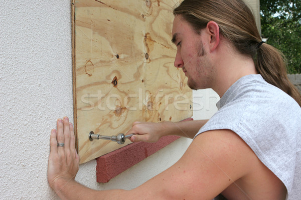 Screwing Plywood on Window Stock photo © lisafx