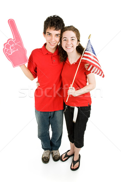 Adolescente casal leal atraente favorito equipe de esportes Foto stock © lisafx