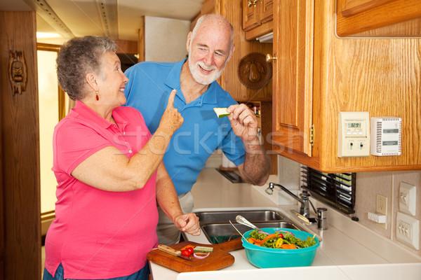 Photo stock: Faim · retraite · couple · de · personnes · âgées · déjeuner