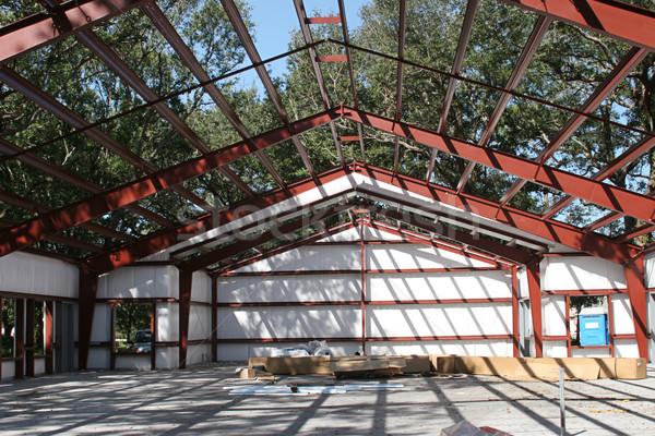 Foto stock: Aço · quadro · construção · edifício · grande · campo