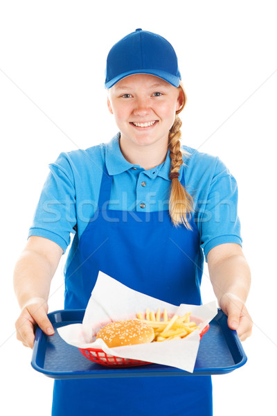 Foto stock: Amistoso · camarera · de · comida · rápida · trabajador