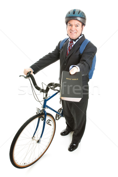 Stock Photo of Religious Missionary with Bicycle Stock photo © lisafx