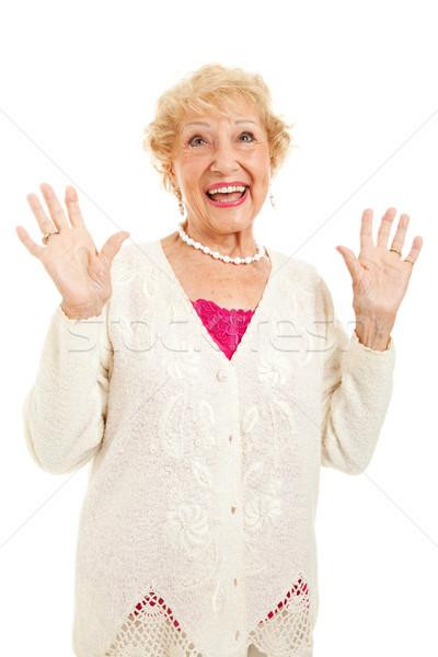Senior vrouw blijde handen lof vreugde Stockfoto © lisafx