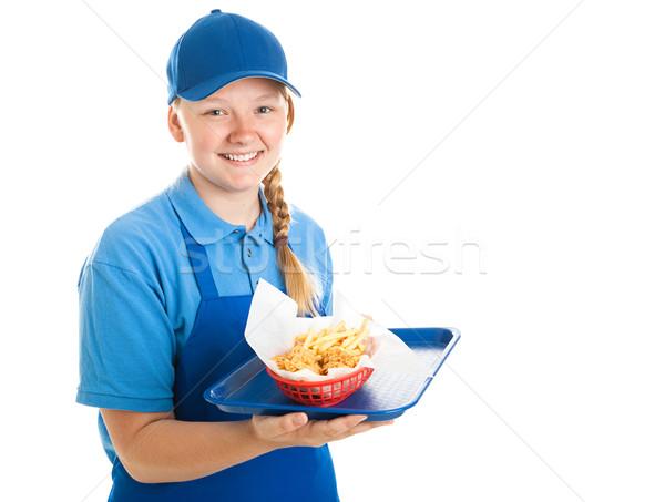 Сток-фото: быстрого · питания · работник · подростку · лоток