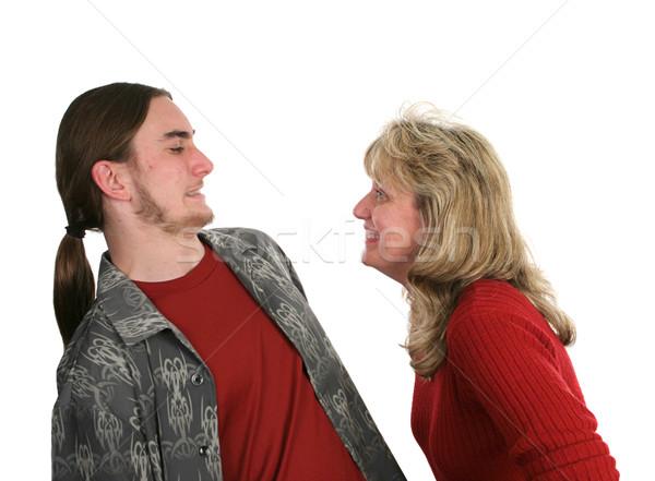 Anya fiú tini viccelődés körül arc Stock fotó © lisafx