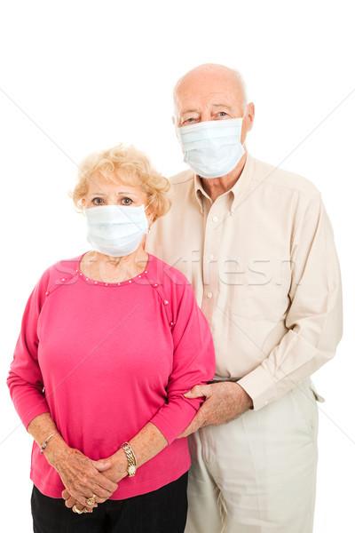 Casal de idosos gripe proteção preocupado cirúrgico Foto stock © lisafx