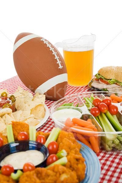 Super bowl buli asztal szett falatozó ételek Stock fotó © lisafx