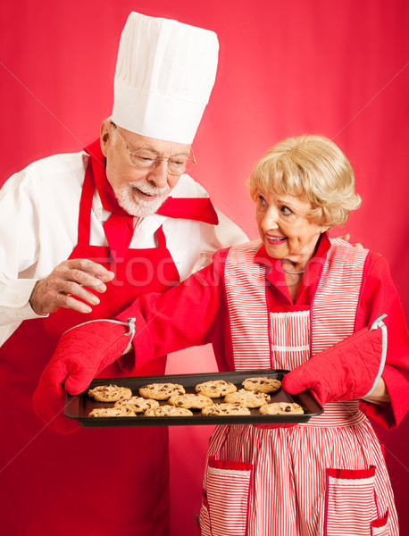 Chef and Housewife Baking Cookies Stock photo © lisafx