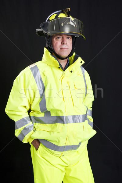 Firefighter on Black Stock photo © lisafx