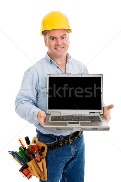Construction Worker Friendly & Laptop Stock photo © lisafx
