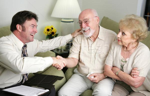 Srácok bot együtt házas idős pár tanácsadó Stock fotó © lisafx