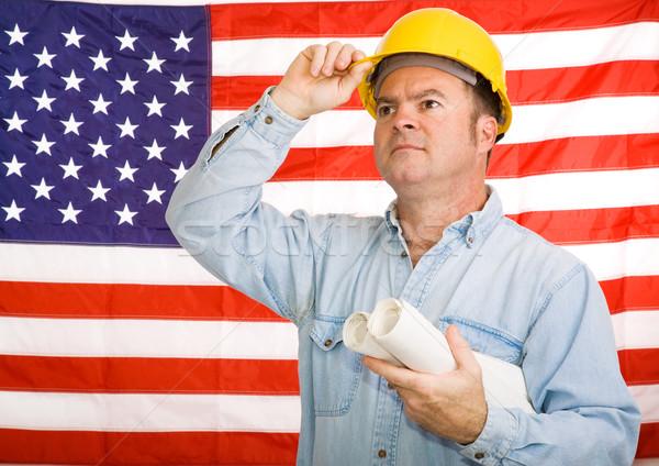 Patriotic Construction Worker Stock photo © lisafx