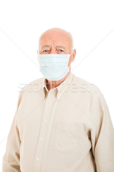 Idős férfi influenza védelem visel műtősmaszk Stock fotó © lisafx