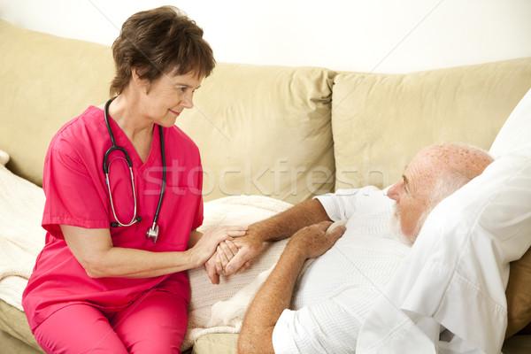 Cuidados en el hogar casa salud enfermera ancianos hombre Foto stock © lisafx
