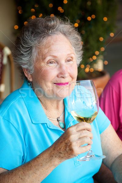 Stok fotoğraf şarap tadımı kıdemli kadın tat Stok fotoğraf © lisafx