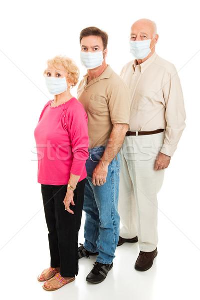 Járvány visel arc maszkok idős pár Stock fotó © lisafx