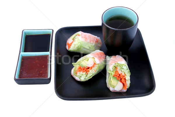 Japanese Salad Roll & Sauces Stock photo © lisafx
