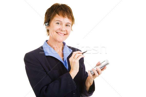 зрелый компетентный деловая женщина личные организатор рук Сток-фото © lisafx
