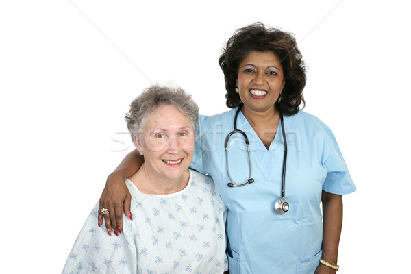 Bakım kıdemli kadın hemşire Stok fotoğraf © lisafx