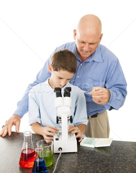 Stockfoto: Wetenschap · leraar · student · witte · kind