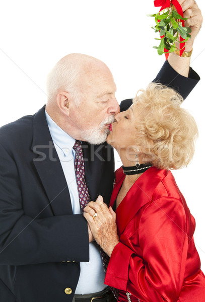 Anziani vischio bacio Natale bianco Foto d'archivio © lisafx