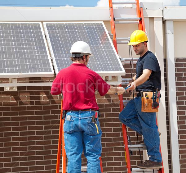 Zonnepaneel installatie twee zonnepanelen kant Stockfoto © lisafx