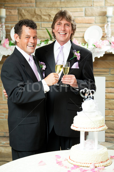 Gay mariage champagne Toast couple réception de mariage Photo stock © lisafx